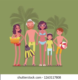 Happy family rest at resort. Parents and kids in swimwear relax on vacation, group of tourists in warm country travel to enjoy swimming, diving and sun bathing. Vector flat style cartoon illustration