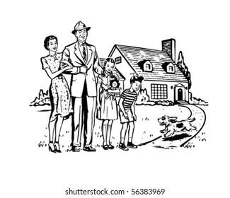 Happy Family - Retro Clip Art