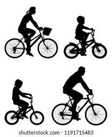 Happy family riding bicycle together, vector silhouette. Little boy and girl riding bicycle with parents. Mother and father with kids outdoor enjoying in bike driving. Biker family.