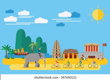 Happy family riding bicycles in Vietnam with Vietnamese landmarks such as Ho Chi Mihn Mausoleum, Heavenly Lady Pagoda, Imperial City and  lifestyle of Vietnamese people, all objects are grouped.