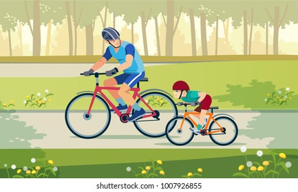 Happy family is riding bikes outdoors and smiling. Father on a bike and son on a balancebike in the park.  Vector illustration