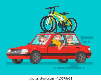Happy family riding in a car. Bicycle trip