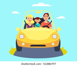 Happy family riding in a car. Vector illustration
