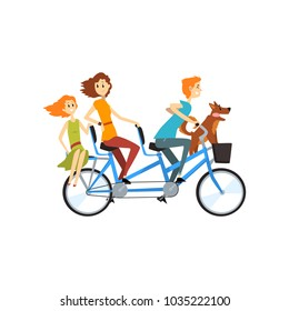 Happy family riding on long tandem bicycle, parents enjoying cycling with their daughter and dog, recreation with kids vector Illustration