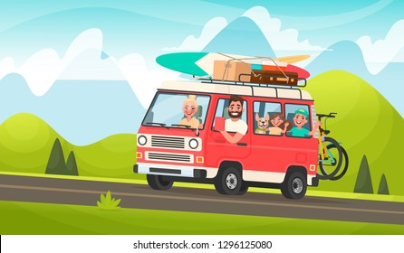 Happy family road trip. Mom, Dad, children and a dog traveling on a tourist minivan on the background of a mountain landscape. Vector illustration in cartoon style