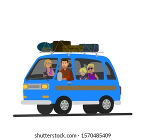 Happy family road trip. Vector illustration in cartoon style.