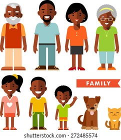 Happy family of seven african american ethnic people and two pets isolated on white background in flat style