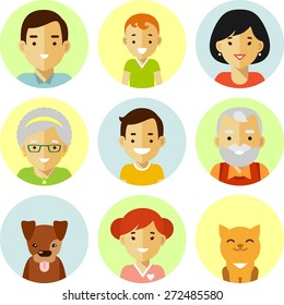 Happy family of seven people avatars icons and two pets isolated on white background in flat style