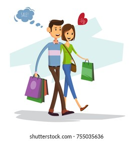 Happy family with shopping bags. Couple of lovers at sale with dialog cloud
