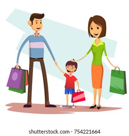 Happy family with shopping bags. Mother, father and kid boy at sale