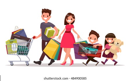 Happy family with shopping. Big discount. Purchasing of goods and gifts. Vector illustration of a flat design
