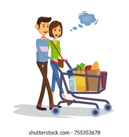 Happy family with shopping cart and products. Couple of lovers at sale with dialog cloud