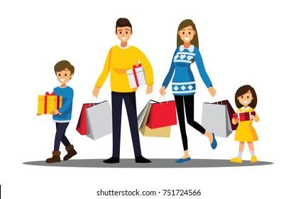 Happy family shopping, Cartoons character