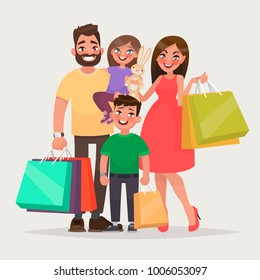 Happy family is shopping. Father, mother and children with packages and purchases. Vector illustration of a cartoon style