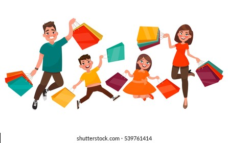 Happy family shopping. Mother, father, son and daughter are jumping holding packages with purchases. Element for advertising big sales. Vector illustration in cartoon style