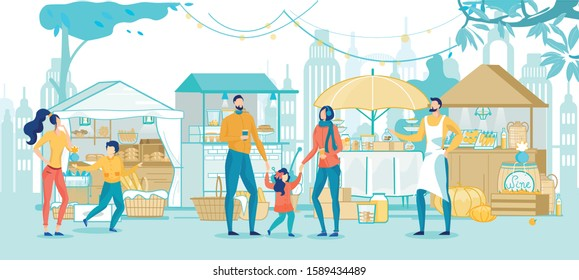 Happy Family Shopping in Street Market Cartoon. Parents with Children Choosing Food, Bakery, Fruits and Vegetables, Talking with Seller. Festive Food Fair in City Park. Vector Flat Illustration