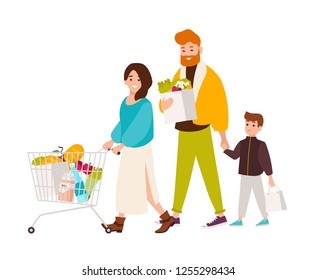 Happy family shopping in supermarket. Smiling mother, father and son buying food products in grocery store. Cute cartoon characters isolated on white background. Vector illustration in flat style.