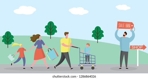 Happy Family shopping.Male with shopping cart and wife with shopping bags,man with slae label,trendy style design,flat vector illustration