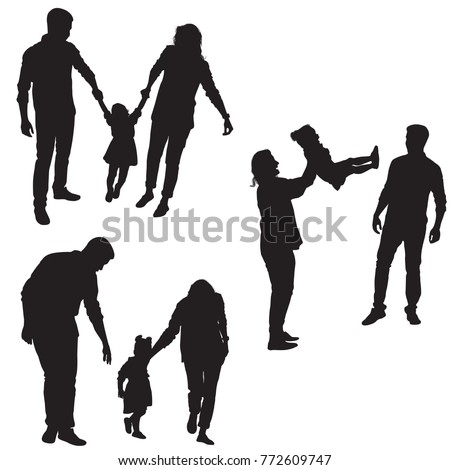 happy family silhouette mom dad baby stock vector royalty