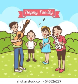 HAPPY FAMILY SINGING TOGETHER IN CARTOON STYLE - Shutterstock ID 545826229