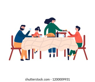 Happy family sitting at dinner table and eating turkey. Smiling mom dad son and daughter celebrating festive Thanksgiving, Christmas. Vector illustration in cartoon flat style