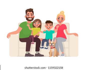 Happy family sitting on the sofa. Father, mother, son and daughter together at home. Vector illustration in cartoon style