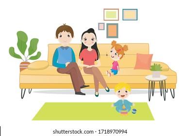Happy family sitting on the sofa illustration.