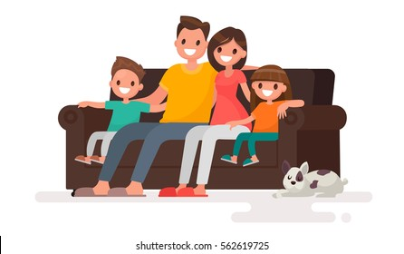 Happy family sitting on the sofa. Father, mother, son and daughter together on an isolated background. Vector illustration in a flat style