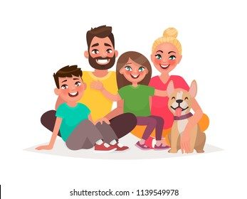 Happy family sitting on a white background. Father, mother son, daughter and dog. Vector illustration in cartoon style