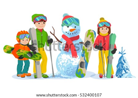 f1264a2a51 Happy family ski and snowbording with snowman. Vector illustration winter  sport concept. People with skiing equipment in clothes - Vector