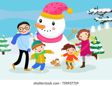 Happy family and snowman