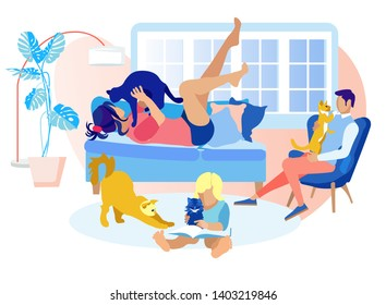 Happy Family Spend Time Together with Pets. Mother Play with Cat, Little Boy Read Book to Kitten, Father Sit in Armchair with Pussycat on Hands. Sweet Moments of Life. Cartoon Flat Vector Illustration
