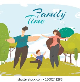 Happy Family Spend Time Together in Park Happily Dancing on Green Field with Trees. Parents and Son Active Lifestyle. Mother, Father, Child Summertime Vacation Cartoon Flat Vector Illustration, Banner