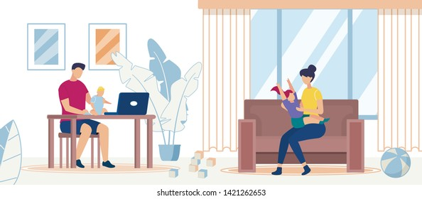 Happy Family Spending Time at Home Together, Parents with Kids, Father Working on Laptop with Baby on Hands, Mother Playing with Daughter Sitting on Sofa, Sparetime. Cartoon Flat Vector Illustration