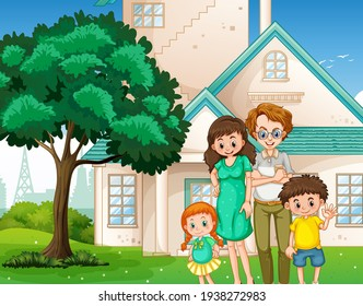 Happy family standing in front of the house illustration