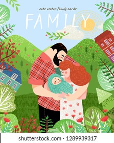 happy family in summer. Cute vector poster, card or cover with an illustration of a father, mother and newborn baby on a background of green nature, mountains and forest landscape with flowers