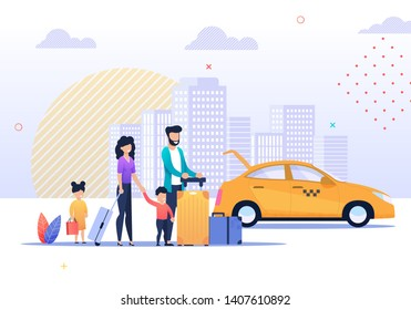 Happy Family Summer Trip and Taxi Service Illustration. Mother, Father, Son and Daughter Standing with Luggage on City Street. Parents Taking Car for Airport Transfer. Vector Travel Flat Cartoon