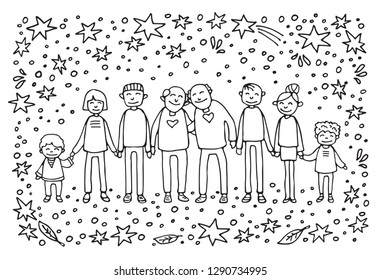 Happy family symbol. Two dads with kids and grandkids on white background. Gay parents with kids. LGBT pride symbol. Caucasian family. Doodle style.