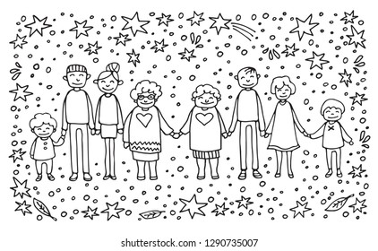 Happy family symbol. Two moms with children and grandkids on white background. Gay parents with kids. LGBT pride symbol. Caucasian family. Doodle style.