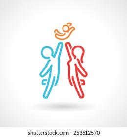 Happy Family Symbol, Vector Icon. Simple Figures.