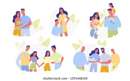 Happy Family Time Line Set Isolated on White Background. Young Loving Couple, Pregnancy, Childbirth, Parents with Children, Grandparents with Kids and Grandchildren. Cartoon Flat Vector Illustration