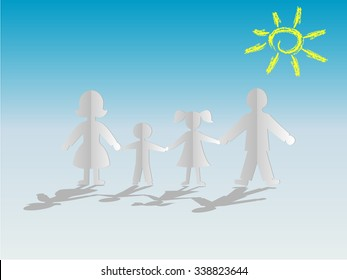 Happy family together on blue background with a painted sun. Silhouettes of people cut out of paper. Vector illustration.