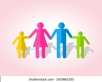 Happy family together. Silhouettes of people cut out of paper. Vector