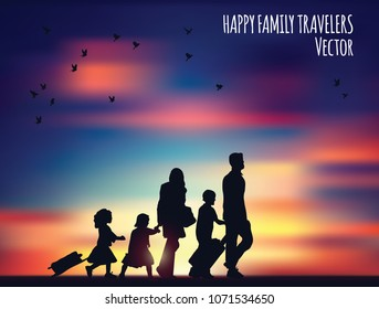 Happy family travelers and landscape.