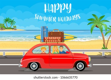 Happy family traveling by car with a luggage bags on the roof and with surfboard on a beach with palms. Summer tourism, travel, trip and surfer. vector illustration in flat design