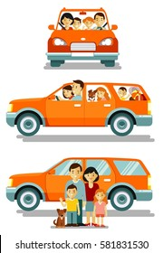 Happy family traveling by car in different views front and side. People set father, mother and children sitting in automobile and standing together. Vector illustration in flat style