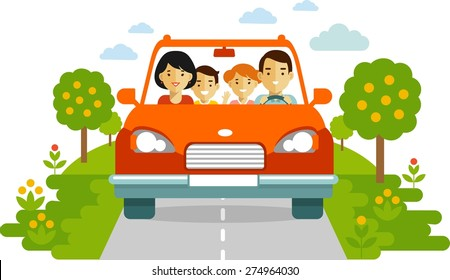 Happy family traveling by red car together on nature background in flat style