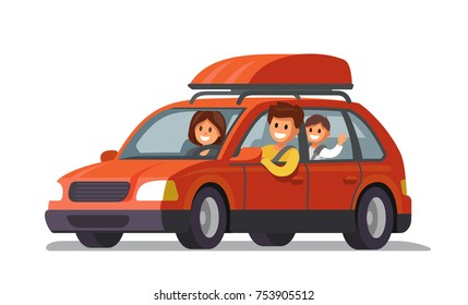 Happy family traveling by red car. Vector flat
