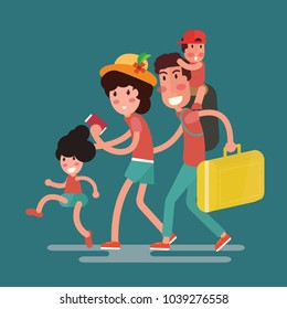 happy family traveling with kids