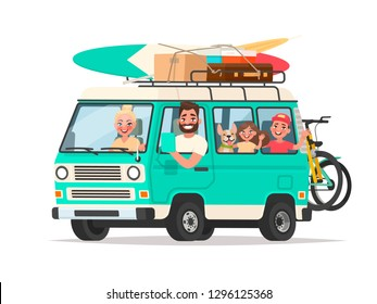 Happy family traveling in a touring van with luggage and bicycles on a white background. Vector illustration in cartoon style